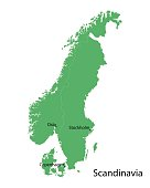 green map of Scandinavian countries