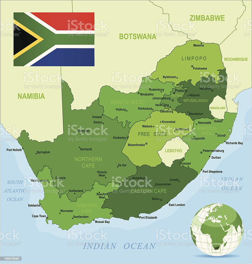 Green Map of South Africa - states, cities and flag vector art illustration