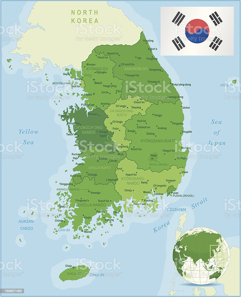 Green Map of South Korea - states, cities and flag vector art illustration