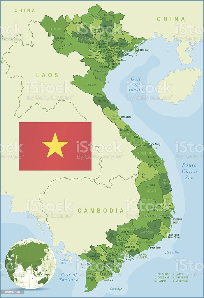 Green Map of Vietnam - states, cities and flag vector art illustration