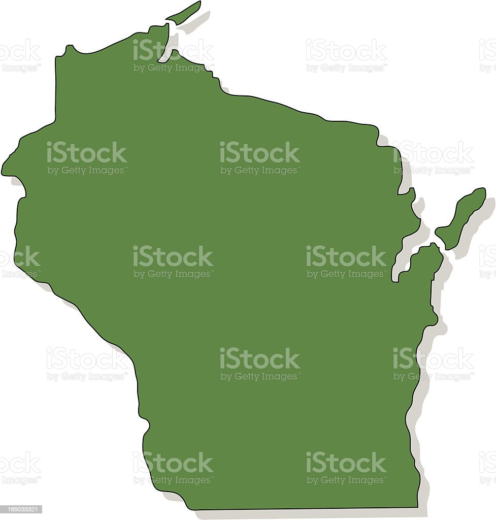 Green map of Wisconsin with shadow isolated on white vector art illustration