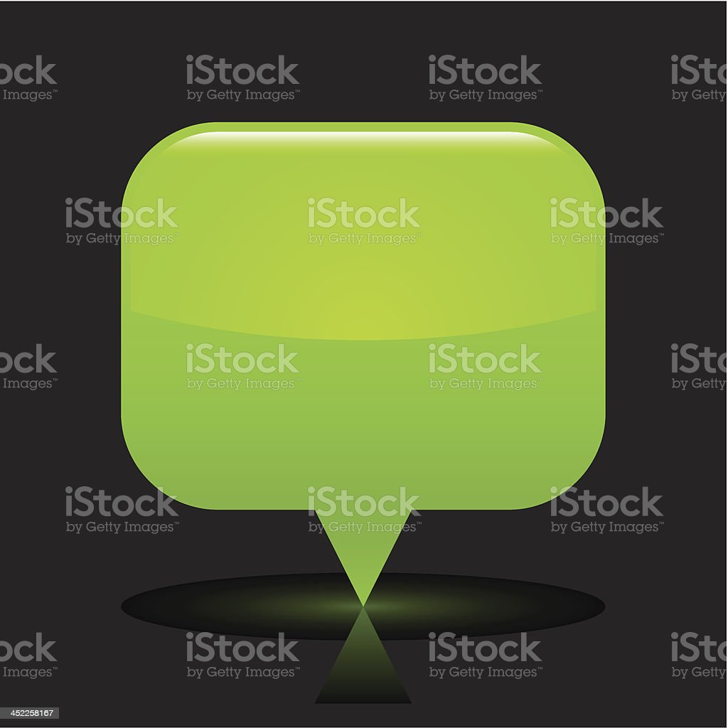Green map pin sign glossy icon rectangle pictogram black background royalty-free stock vector art