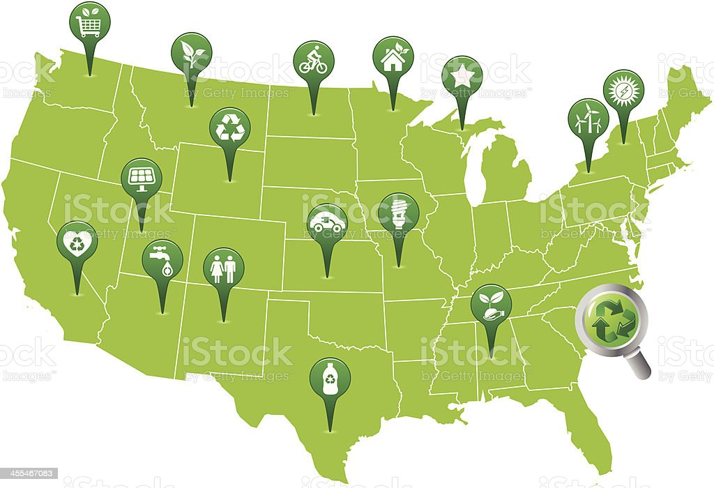 USA Green Map with Recycle and Eco Symbol Pins vector art illustration