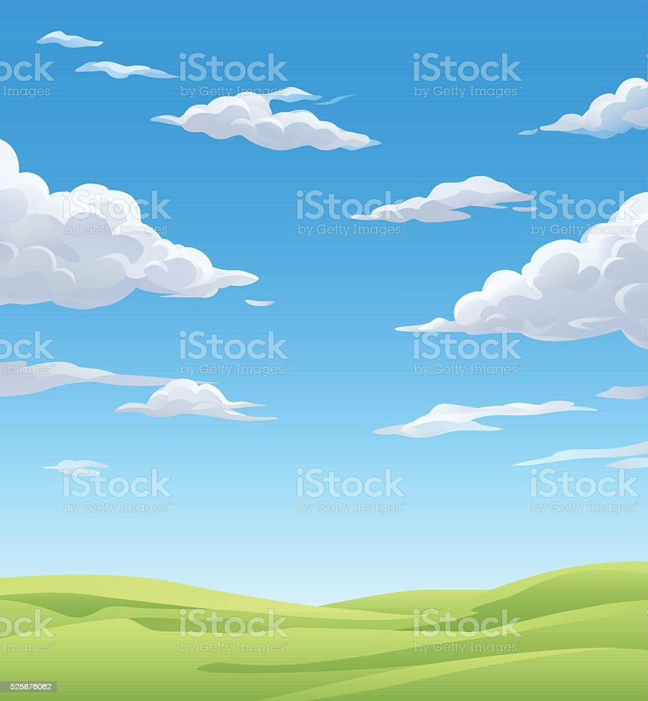 Green Meadow Under A Cloudy Sky vector art illustration