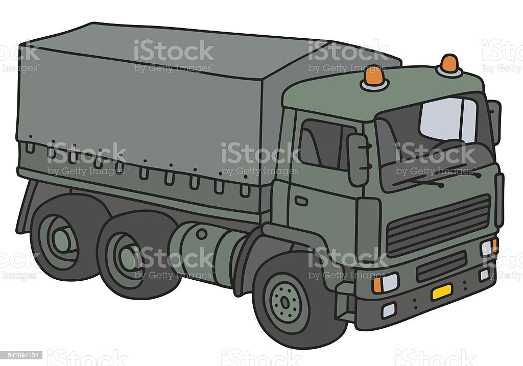 Green military truck vector art illustration