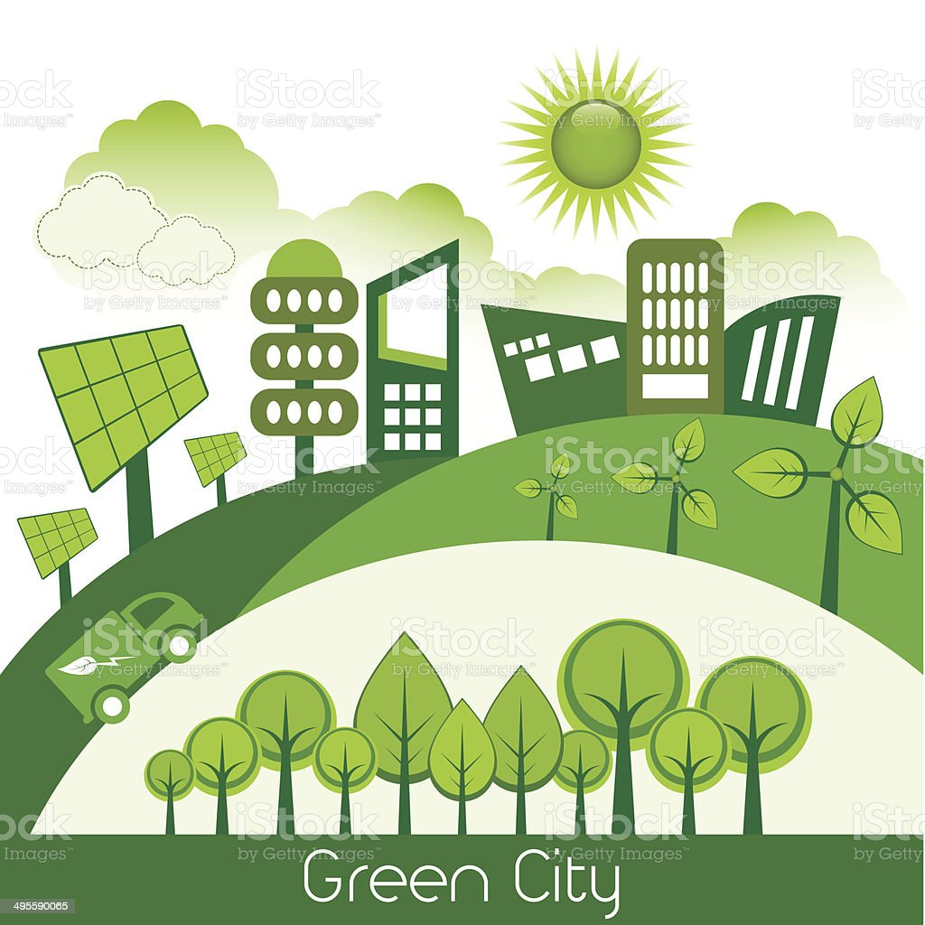 Green Modern Eco City vector art illustration