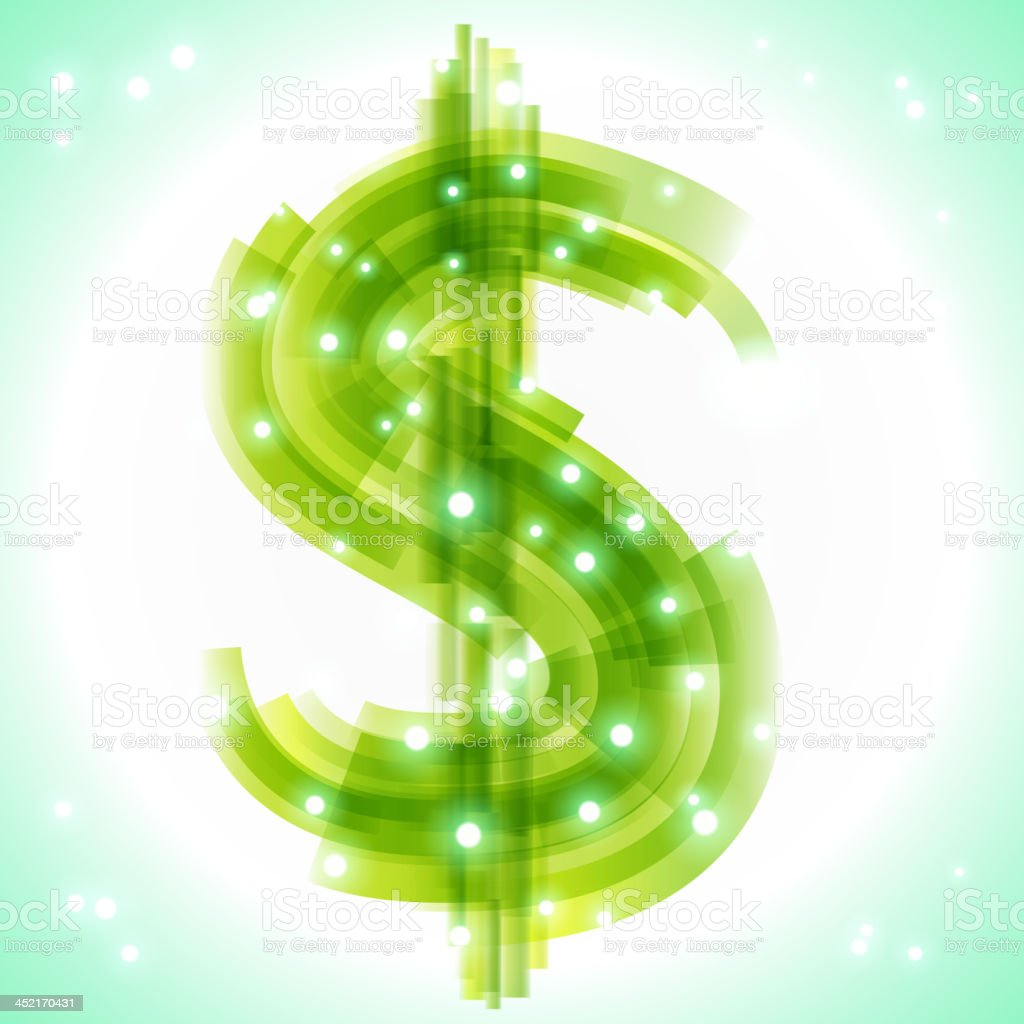 Green money symbol with transparency and lights royalty-free stock vector art