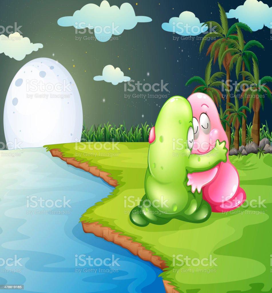 green monster comforting the pink monster at riverbank vector art illustration