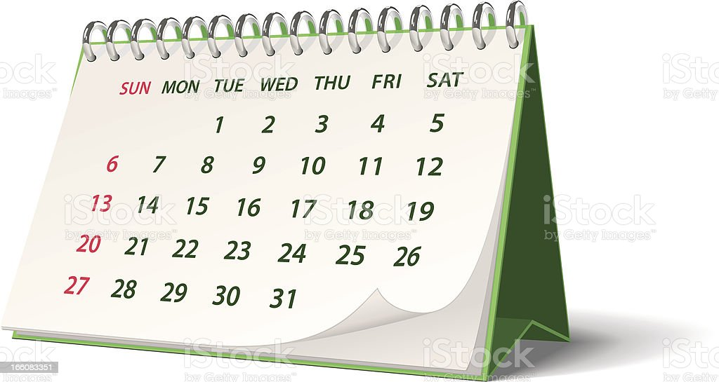 Green monthly spiral bound desk calendar royalty-free stock vector art
