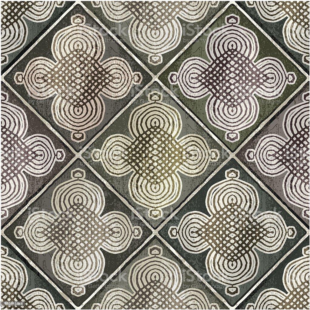 green Moroccan tiles vector art illustration