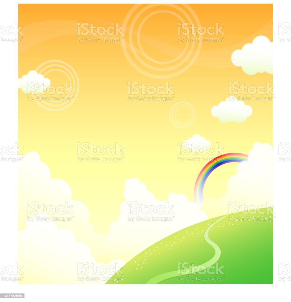 Green mountain and rainbow in sky royalty-free stock vector art
