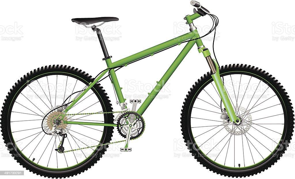 Green Mountain Bike vector art illustration