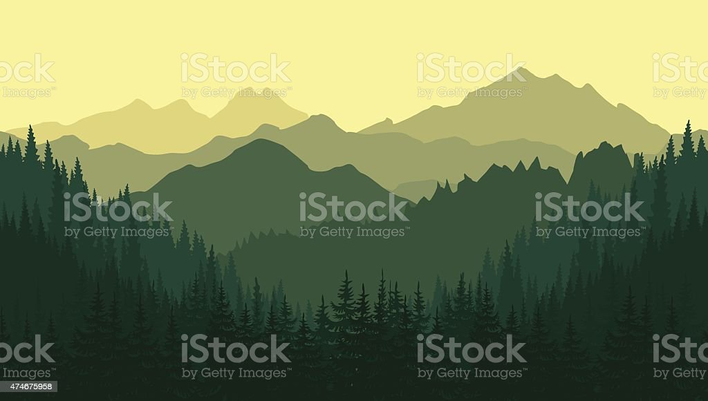 Green mountain landscape in the summer. Seamless background. vector art illustration
