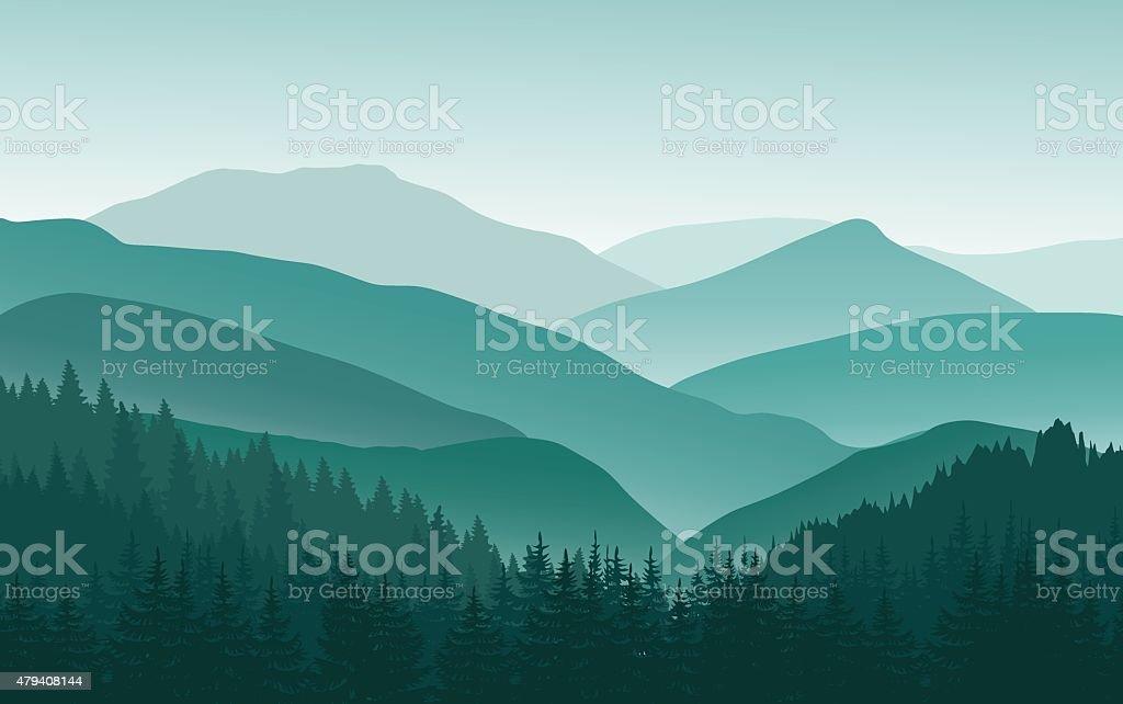 Green mountain landscape in the summer. vector art illustration