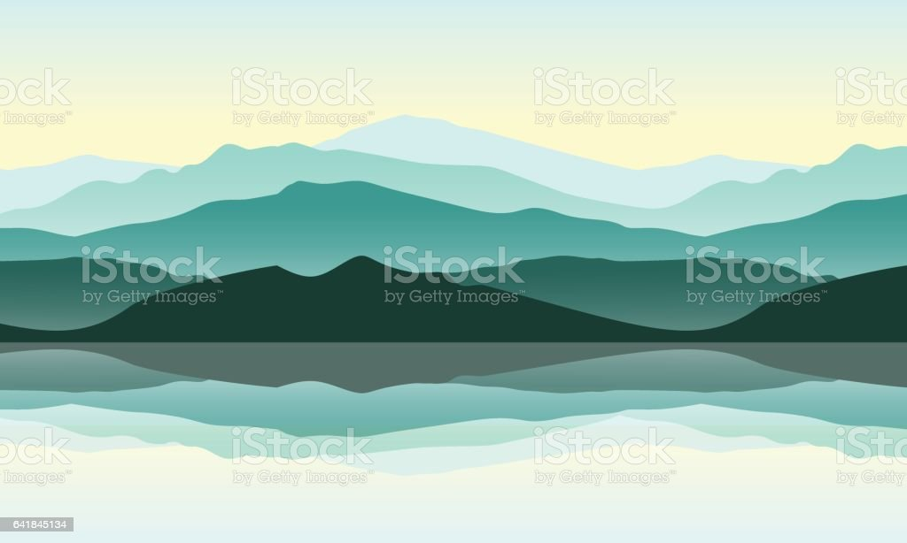 Green mountains landscape with reflection in the water vector art illustration
