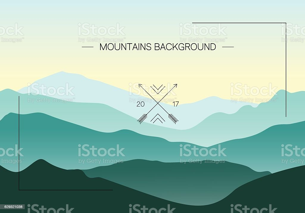 Green mountains landscape with seamless ridges vector art illustration