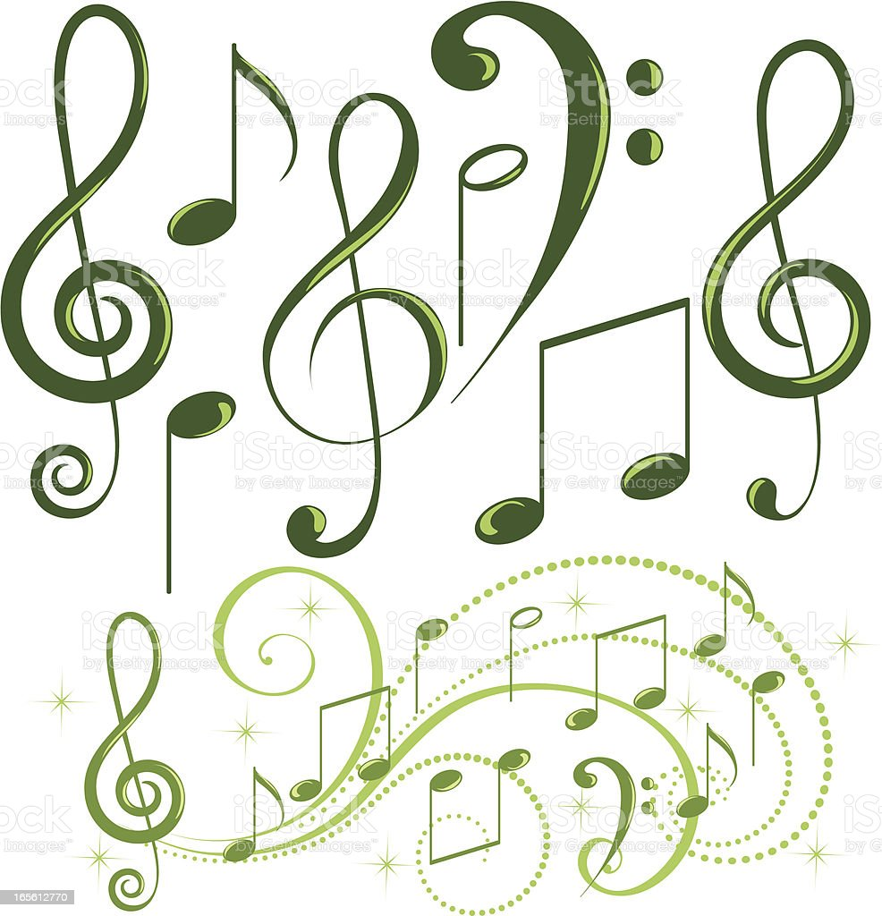 Green music note royalty-free stock vector art