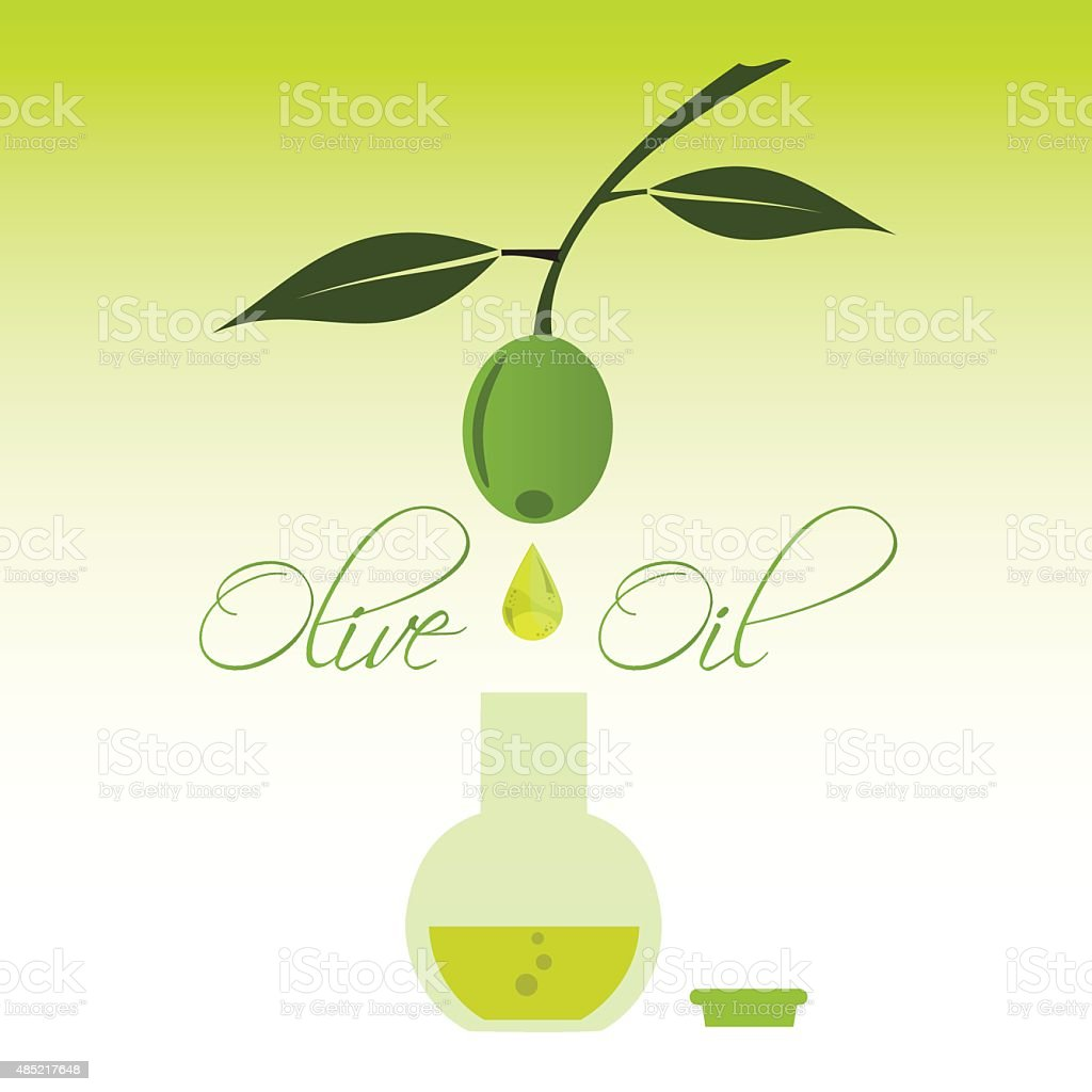 green natural olive oil production drip to bottle eps10 vector art illustration