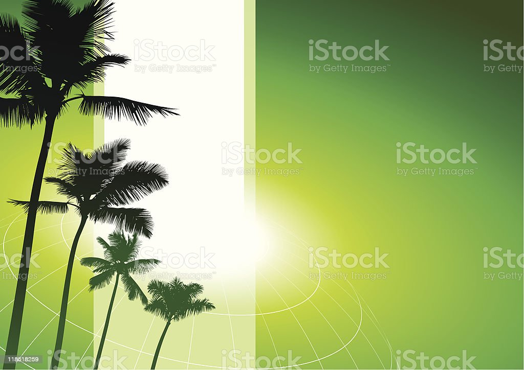 green nature background with palm trees royalty-free stock vector art