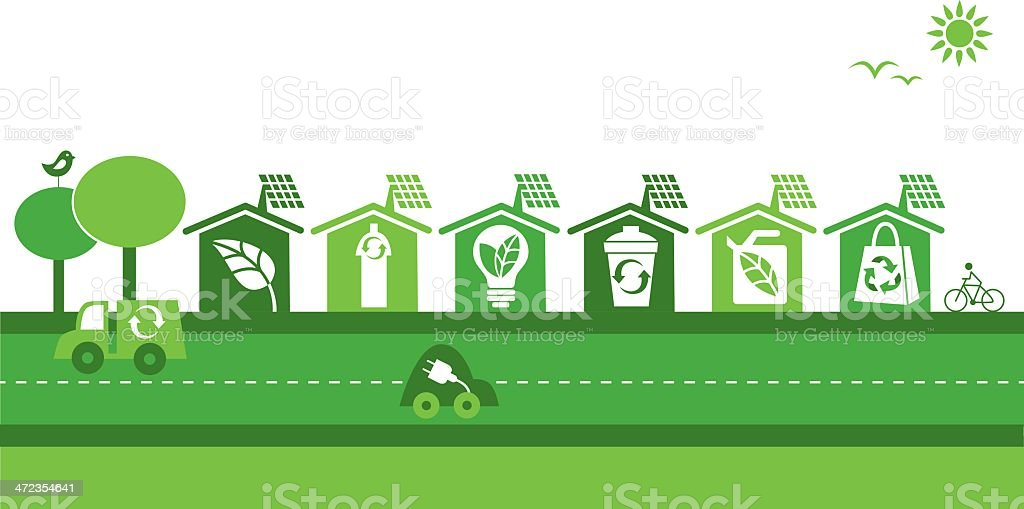 Green neighborhood vector art illustration