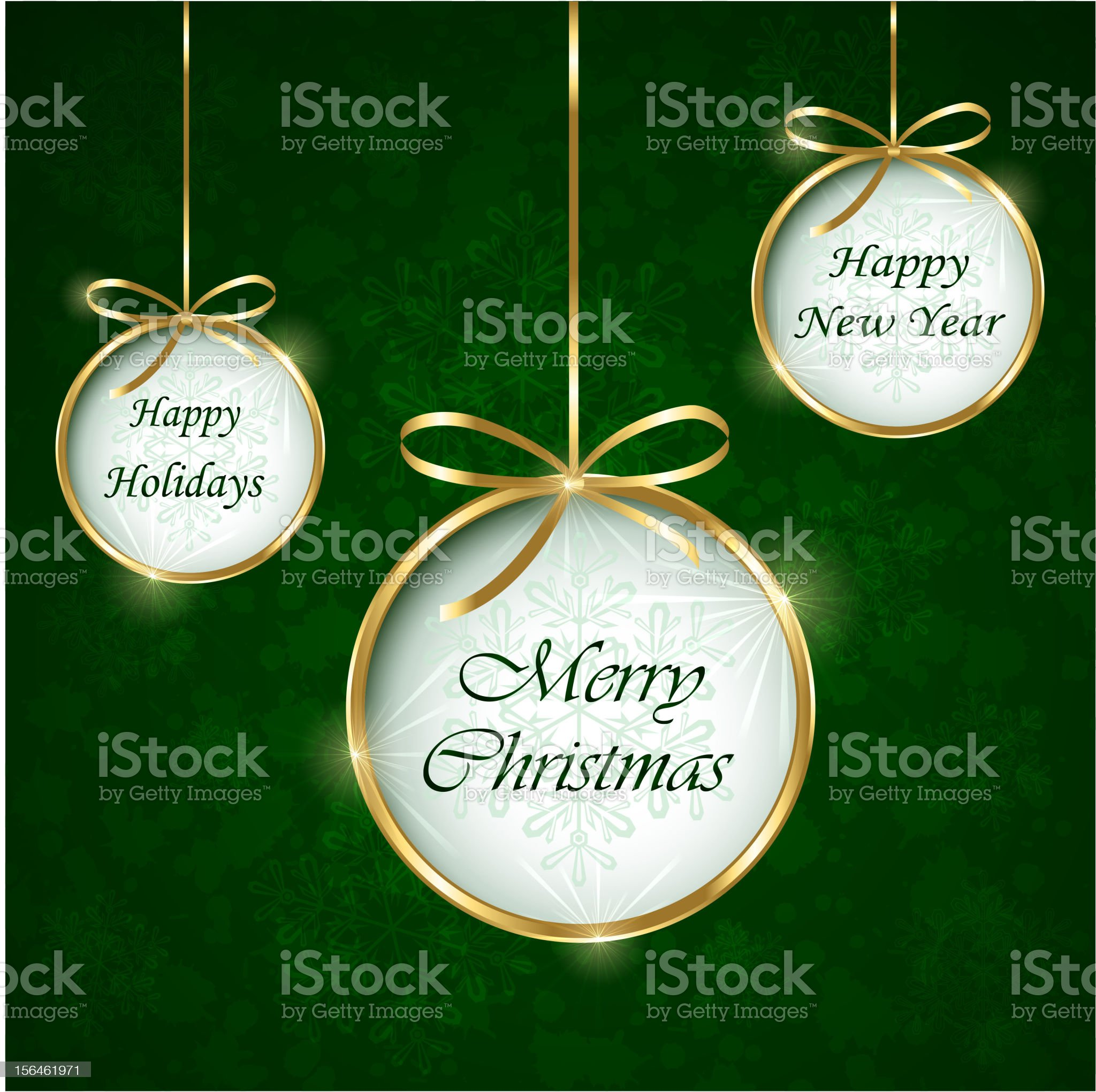 Green New Year and Christmas Holidays greetings card royalty-free stock vector art