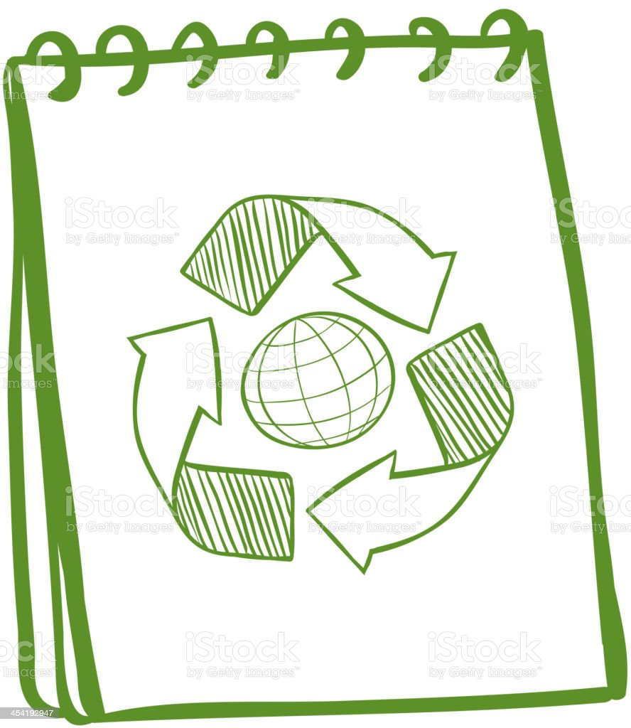 Green notebook with a drawing of the recycle symbol royalty-free stock vector art