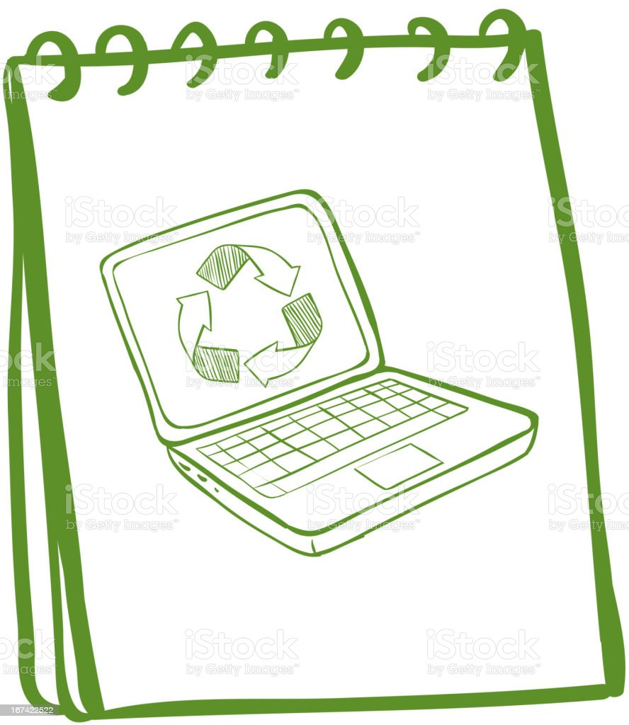 Green notebook with a laptop at the cover page royalty-free stock vector art