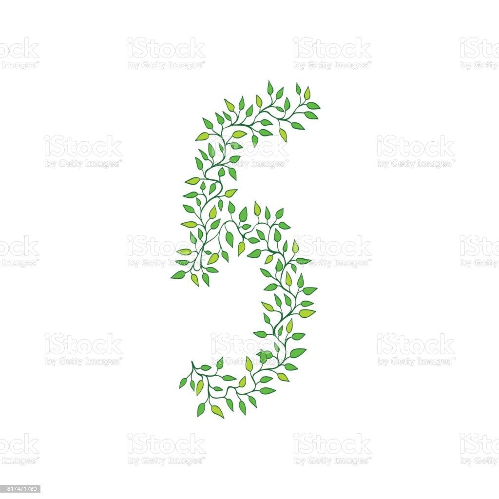 Green numbers vector art illustration