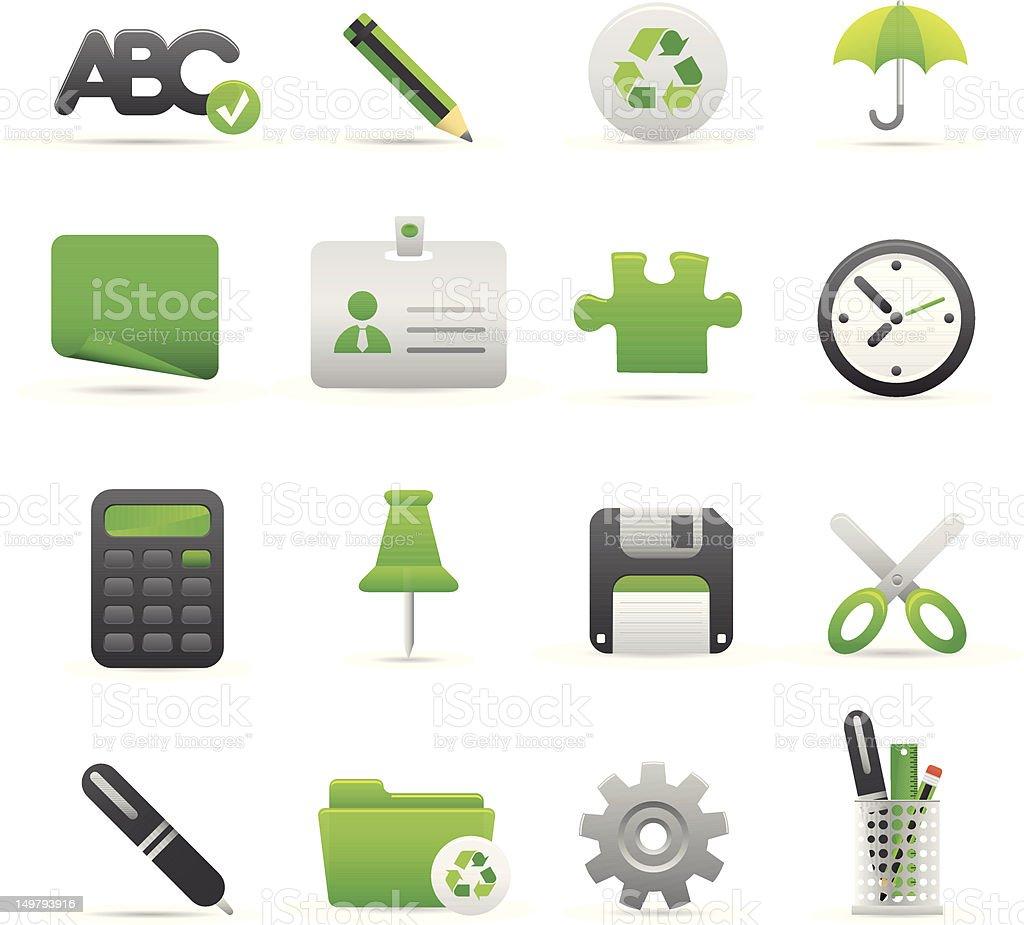 Zielony Biuro ikony stockowa ilustracja wektorowa royalty-free