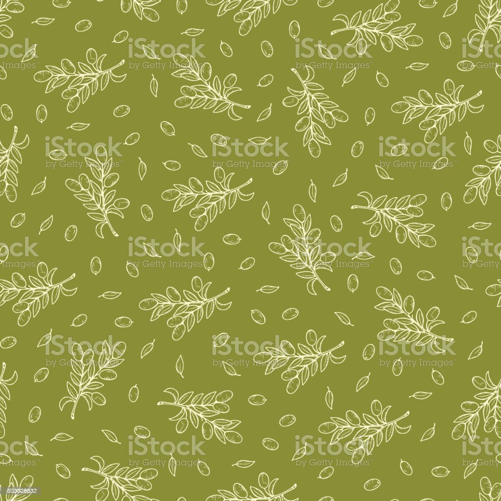Green olives. Hand Drawn doodle Olive branches Vector seamless pattern vector art illustration