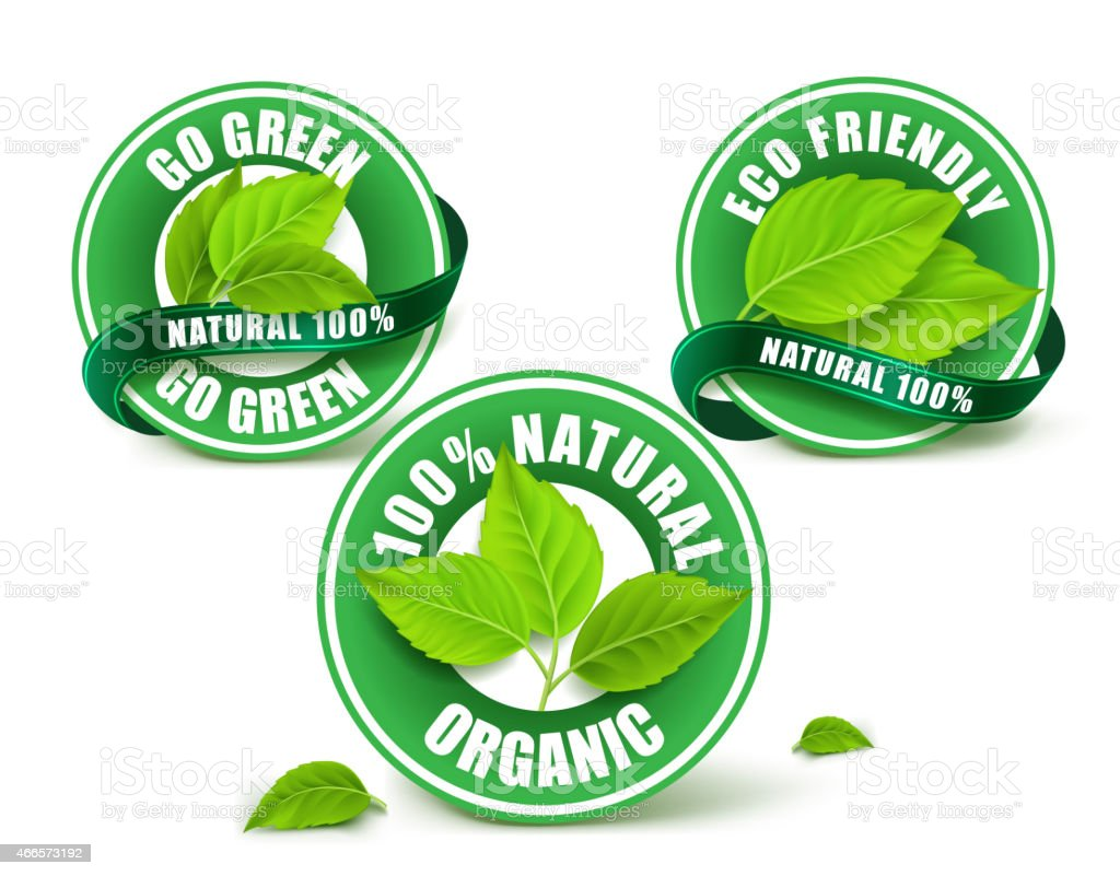 Green Organic Labels, Badge or Seal Set Isolated vector art illustration