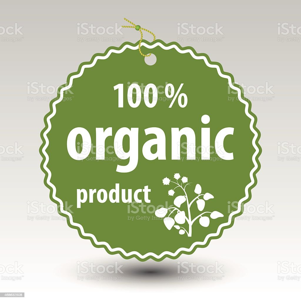 green organic product stamp tag label vector art illustration