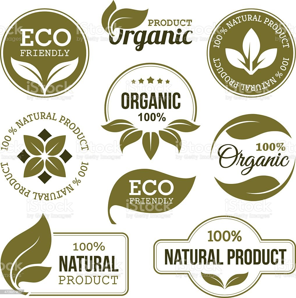 Green Organic Products Labels vector art illustration