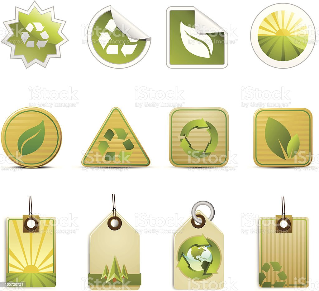 Green Organic Recycle Tags royalty-free stock vector art