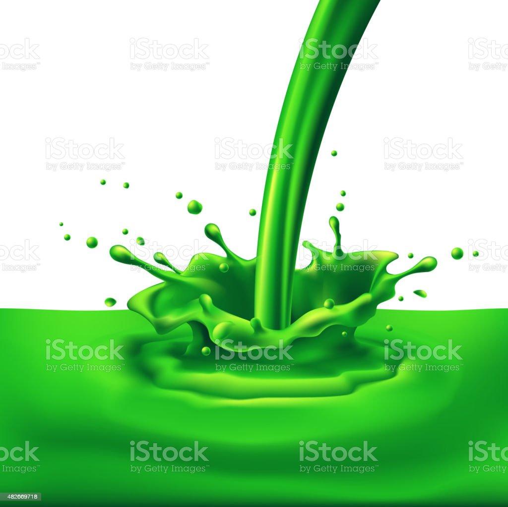 Green paint splashing vector art illustration