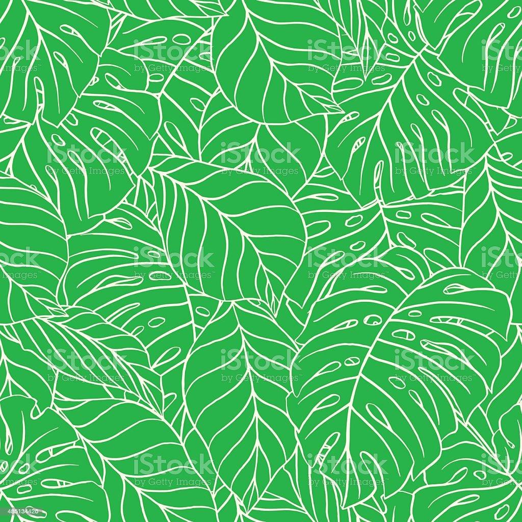 green palm leaves vector art illustration