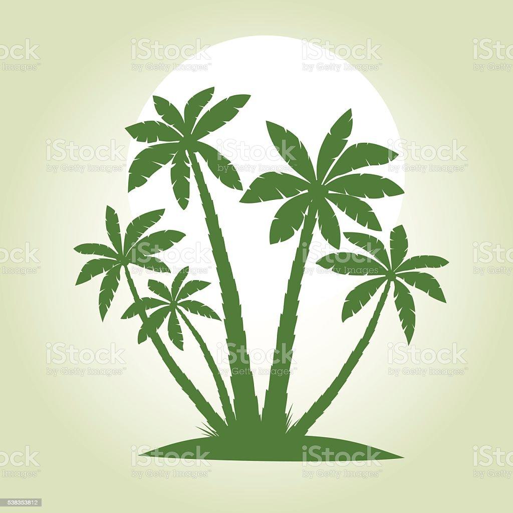 Green Palm Trees. Vector illustration. vector art illustration