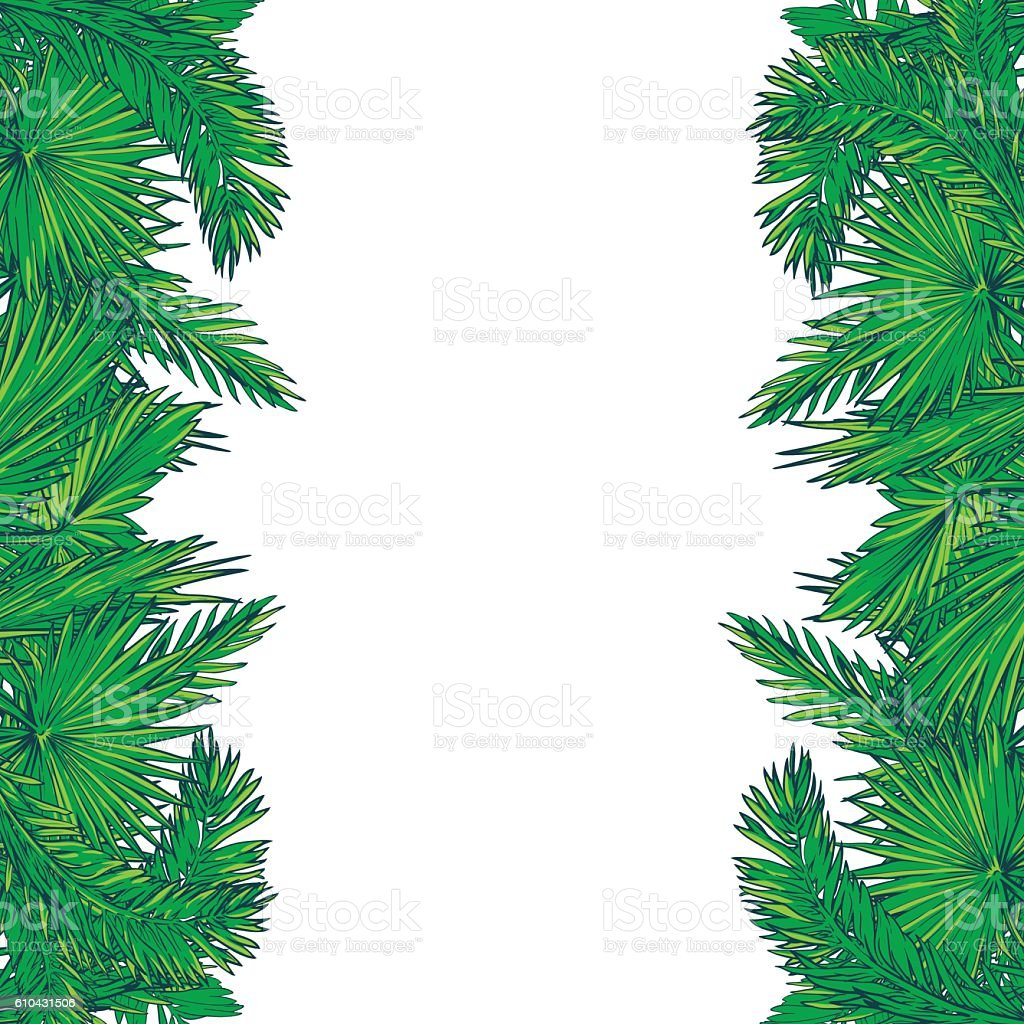 Green Palmtree Leaves Vertical Border stock vector art 610431506