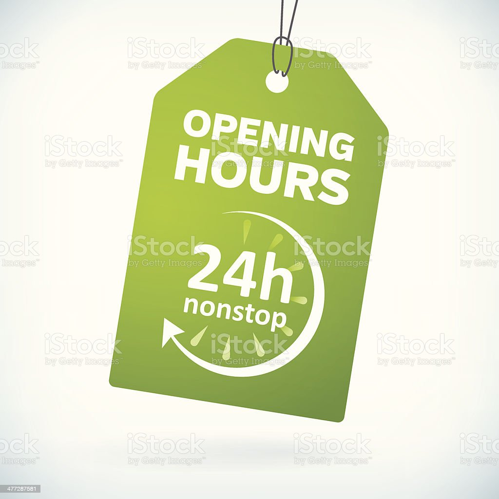 Green paper 24h nonstop opening hours tag vector art illustration
