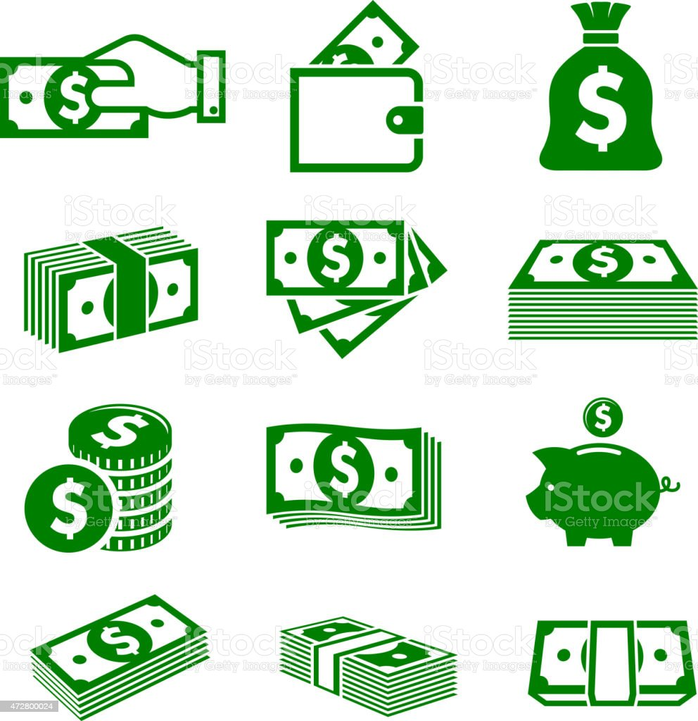 Green paper money and coins icons vector art illustration