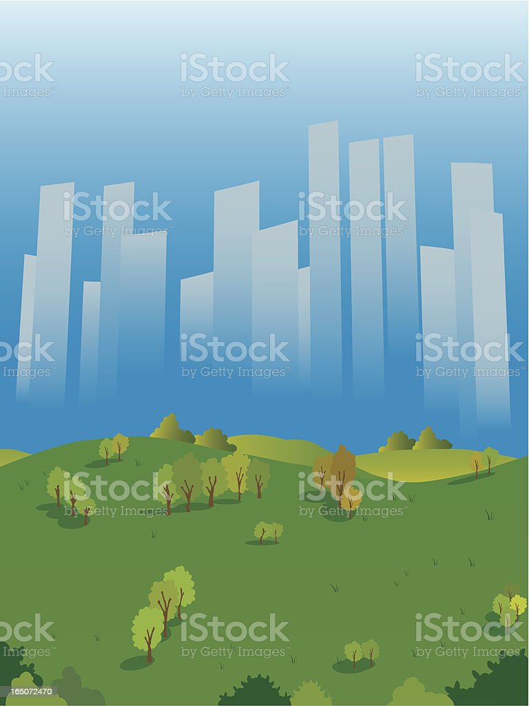 Green park in the middle of the city vector art illustration