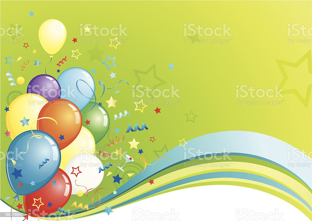 Green party wave with balloons royalty-free stock vector art