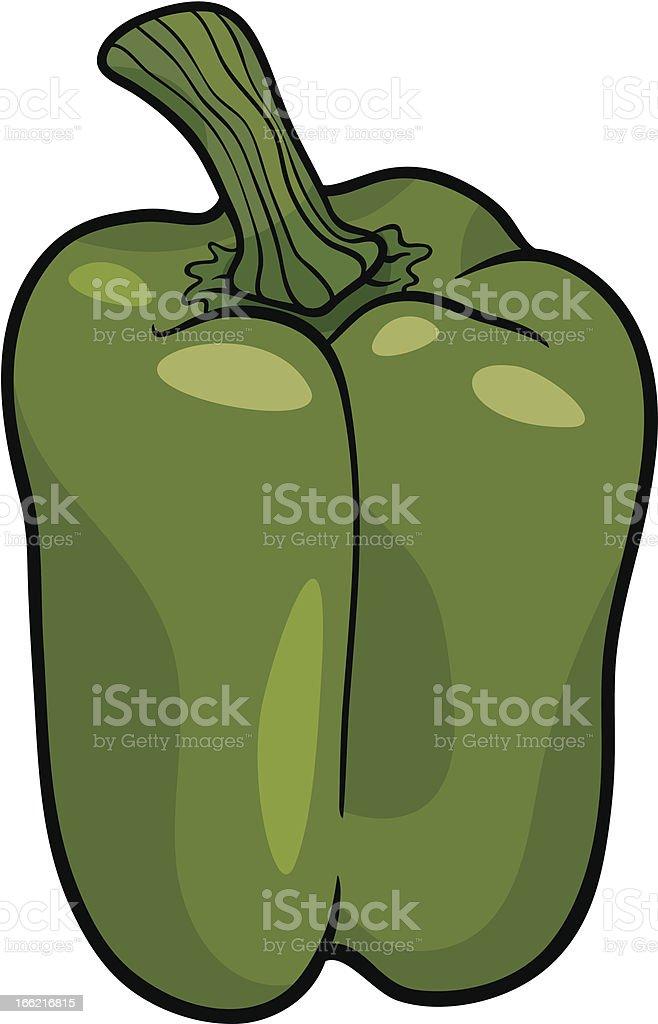 green pepper vegetable cartoon illustration vector art illustration