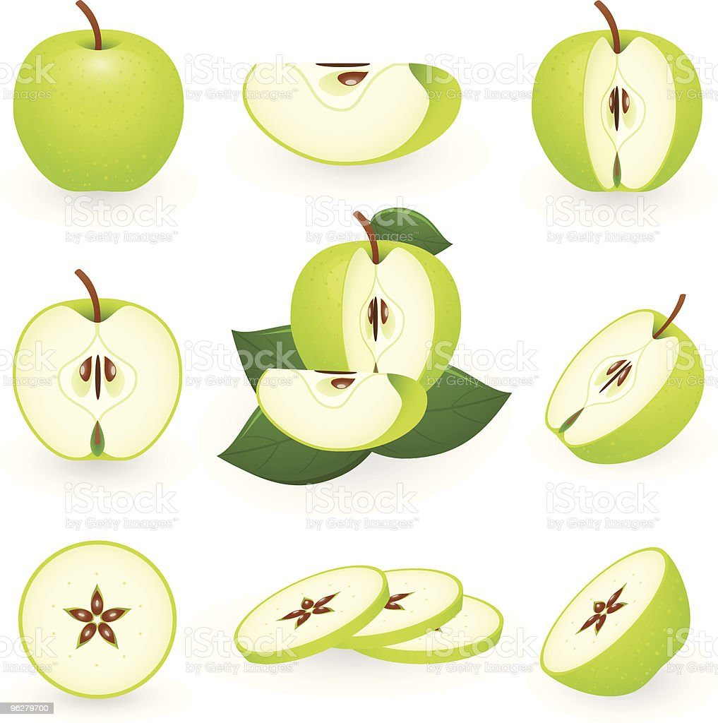 Green pieces of apple background vector art illustration