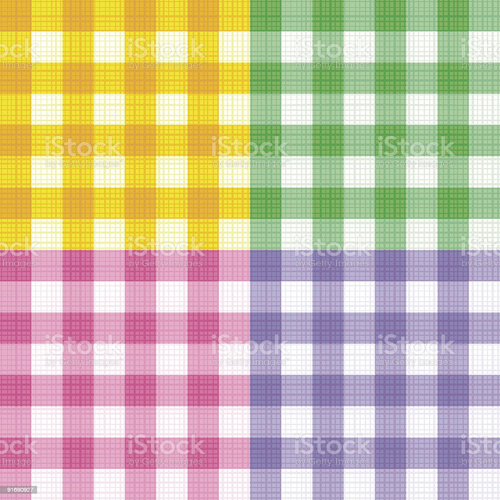 Green, pink, yellow, purple gingham seamless patterns with fabric texture royalty-free stock vector art