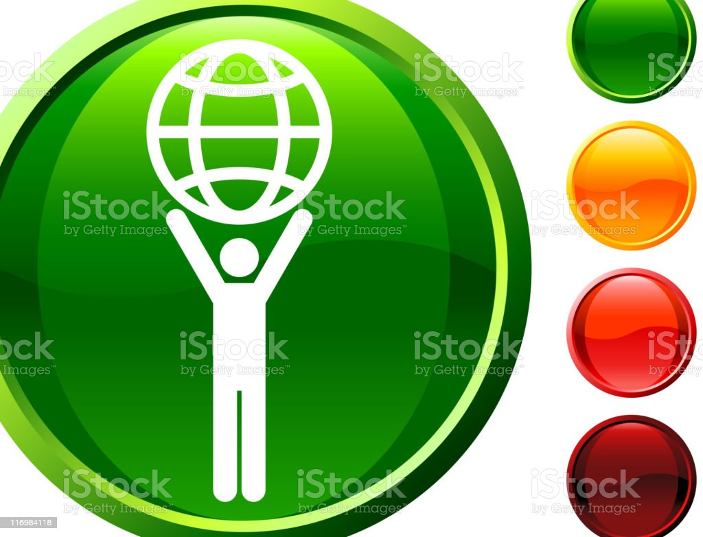Green Planet Internet Icon Held by Human royalty-free stock vector art