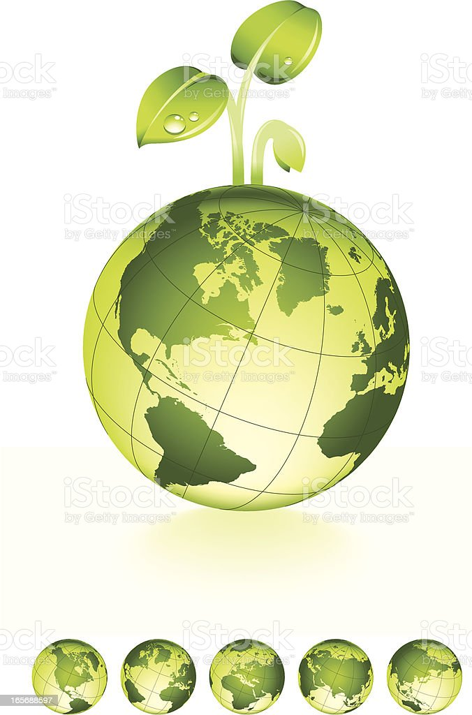 Green Planet with Sprout royalty-free stock vector art