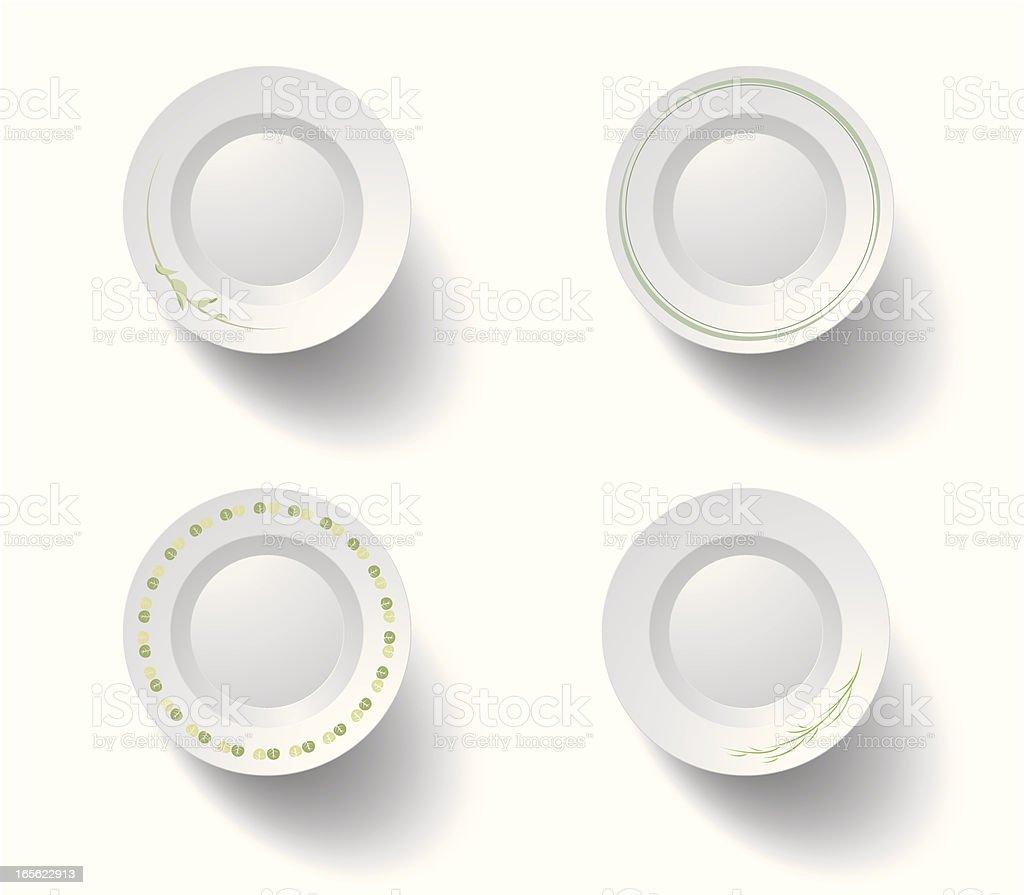 green plates vector art illustration