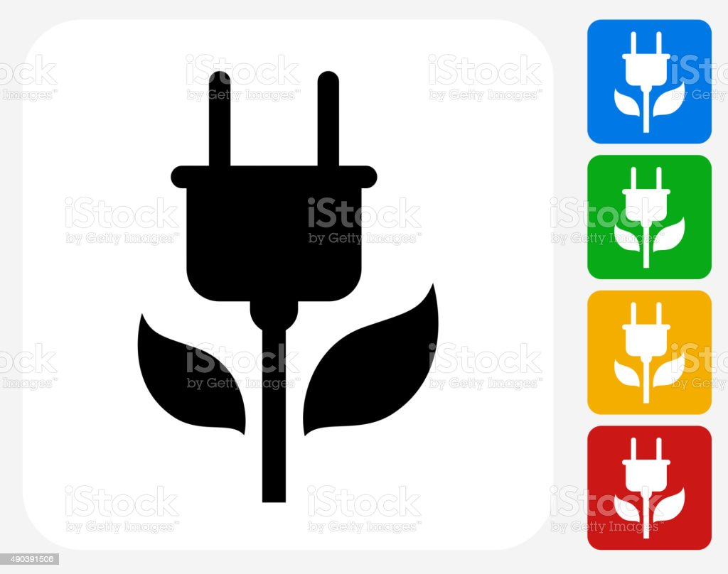 Green Plug Icon Flat Graphic Design vector art illustration