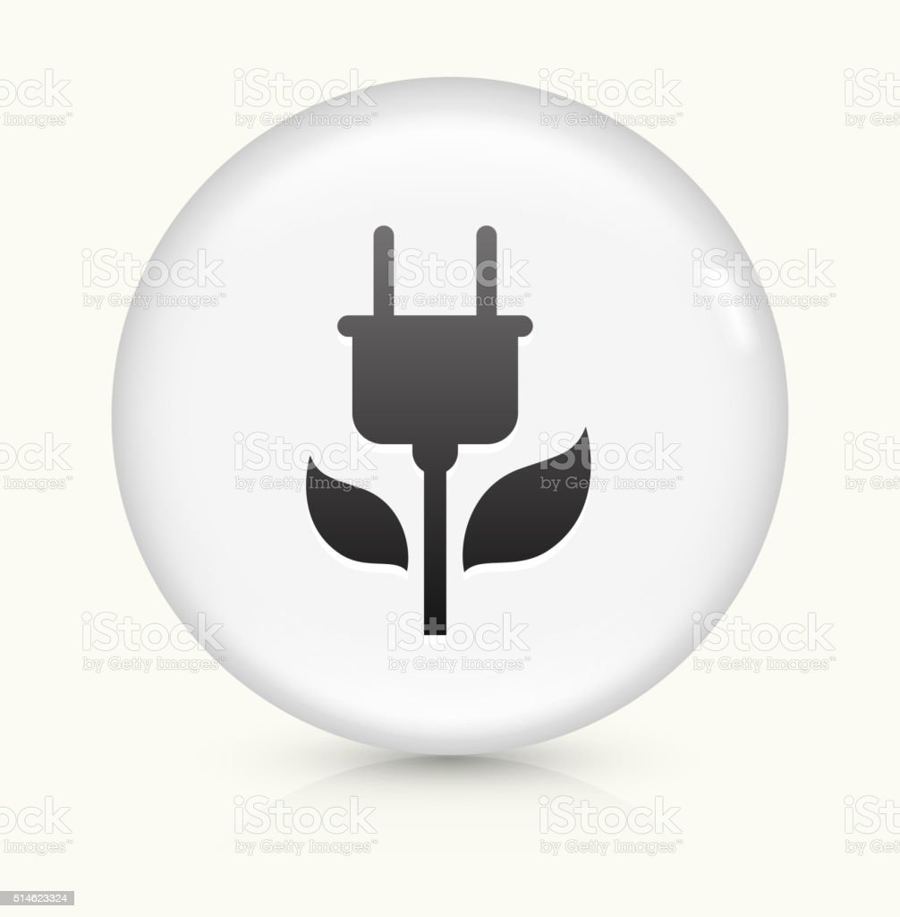 Green Plug icon on white round vector button vector art illustration